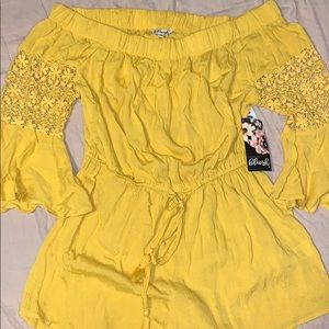 Blush Yellow Romper, New with Tags